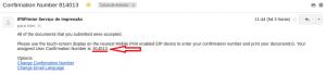 Exemplo de email de resposta do sistema com o código secreto